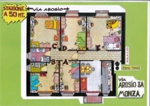 piantina appartamento condiviso via Arosio
