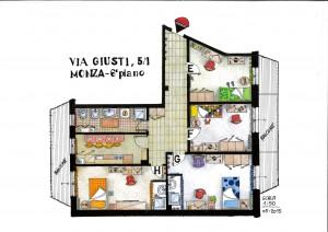 Questo appartamento è all'ultimo piano e ha ben due stanze con doccia e lavandino privati